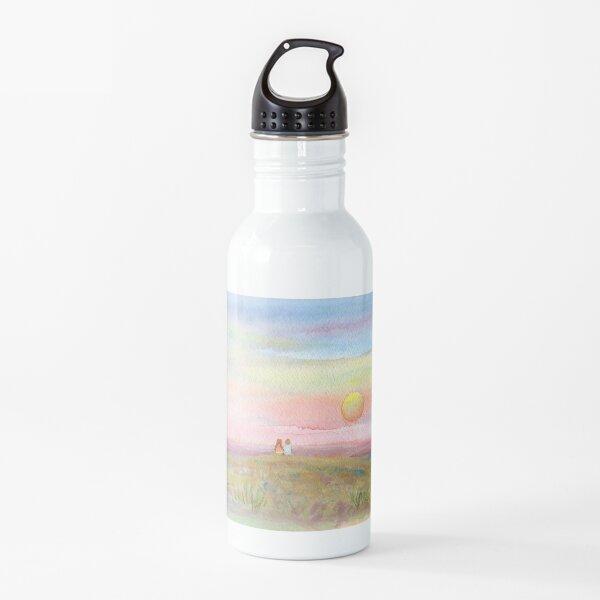 Best Friends, original watercolor painting by Pamela Parsons. Childhood, little boy, little girl, sunset, beach, ocean Water Bottle