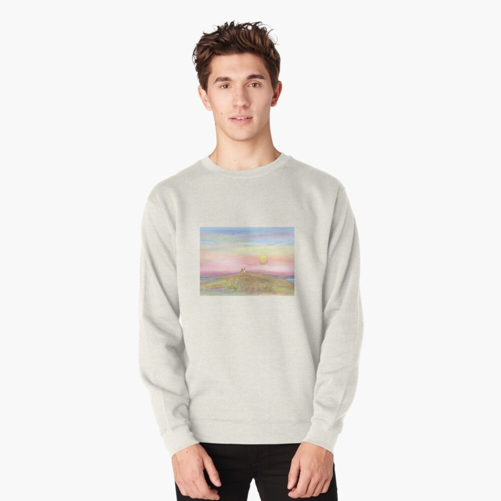 Best Friends, original watercolor painting by Pamela Parsons. Childhood, little boy, little girl, sunset, beach, ocean Pullover Sweatshirt