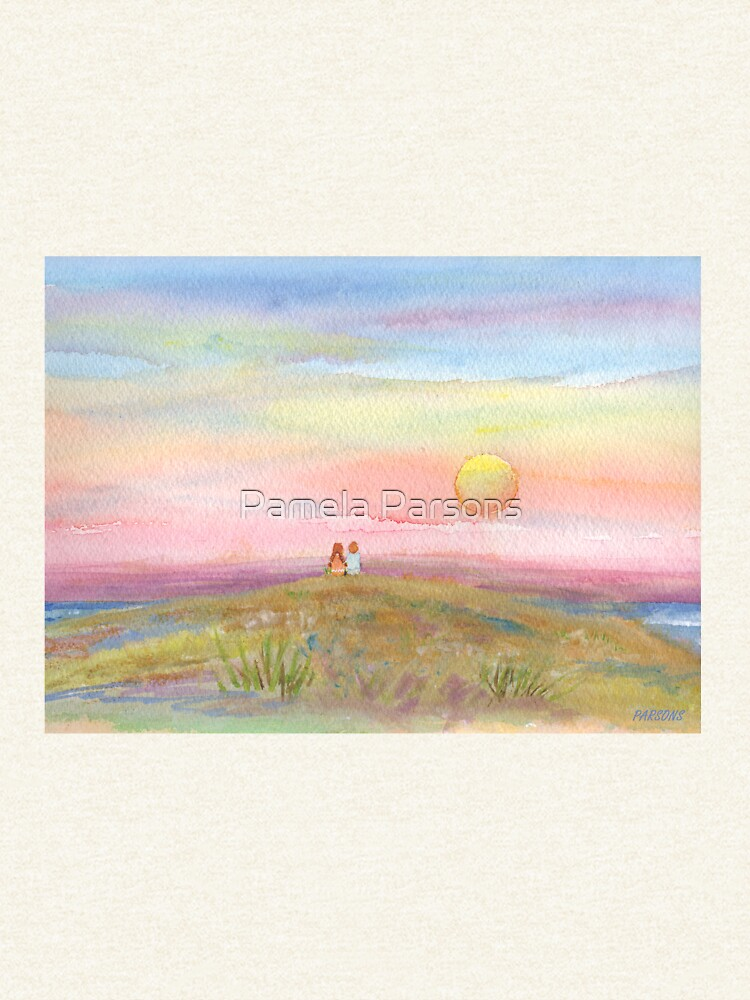 Best Friends, original watercolor painting by Pamela Parsons. Childhood, little boy, little girl, sunset, beach, ocean by parsonsp