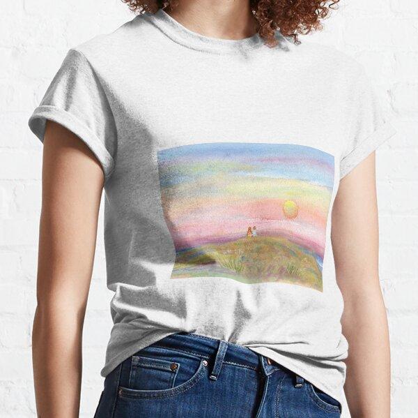 Best Friends, original watercolor painting by Pamela Parsons. Childhood, little boy, little girl, sunset, beach, ocean Classic T-Shirt