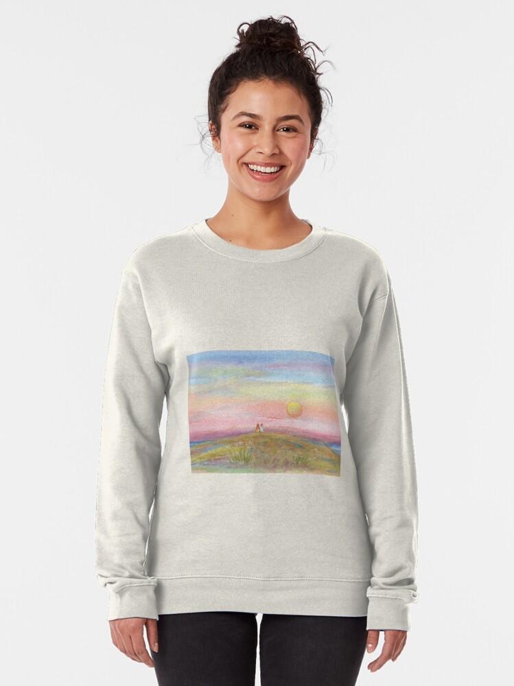 Alternate view of Best Friends, original watercolor painting by Pamela Parsons. Childhood, little boy, little girl, sunset, beach, ocean Pullover Sweatshirt