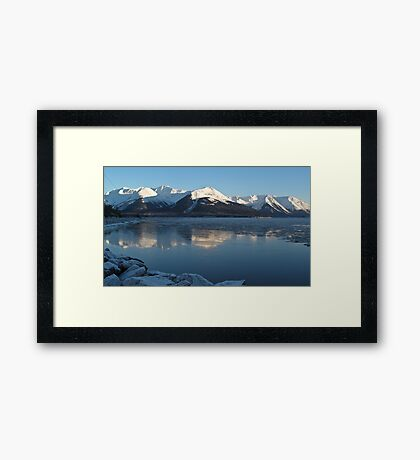 Turnagain Arm Winter Ice Reflection Framed Print