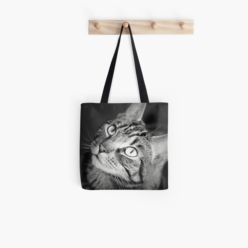 Tabby Cat Goddess Athena in Black and White Tote Bag
