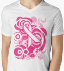 Negative Space Pink Ribbon Abstract Breast Cancer Awareness Tee Mens V-Neck T-Shirt
