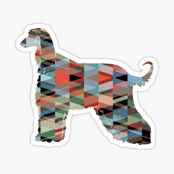 Afghan Hound Geometric Dog Breed Silhouette - Plaid Sticker