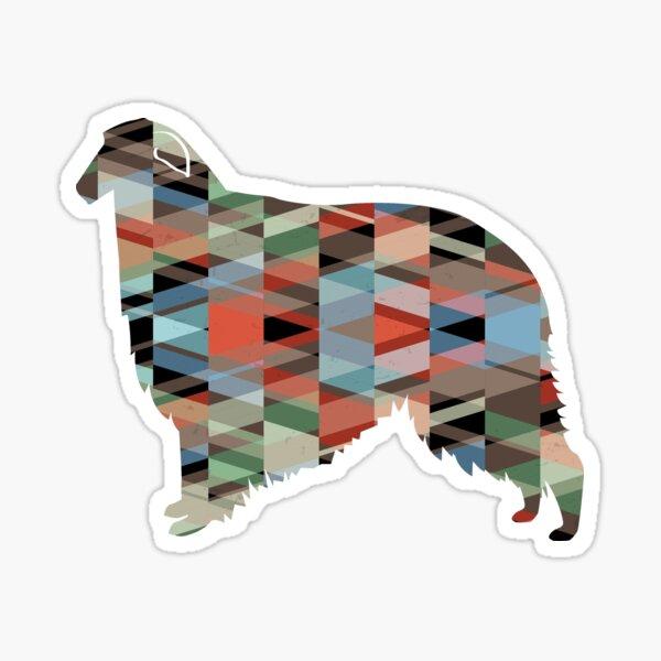 Borzoi Dog Breed Geometric Pattern Silhouette - Plaid Sticker