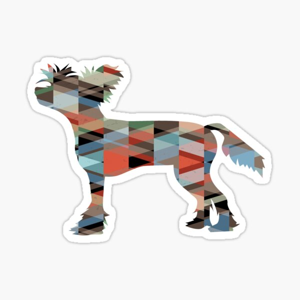 Chinese Crested Colorful Geometric Pattern Silhouette Plaid Sticker