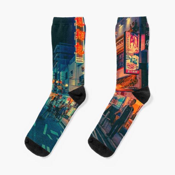 Electric Dreams III- Japan Night Photo Socks