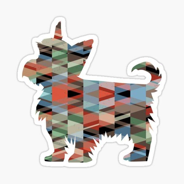 Yorkie Dog Colorful Geometric Pattern Silhouette - Plaid Sticker