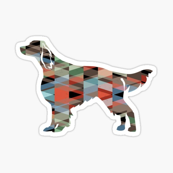 Irish Red and White Setter Dog Breed Silhouette Geometric Pattern Plaid Sticker