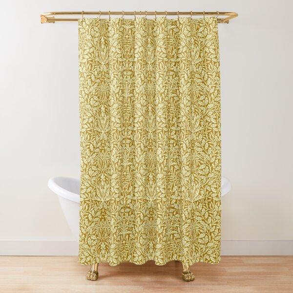 Art Nouveau Floral Damask, Mustard Yellow   Shower Curtain