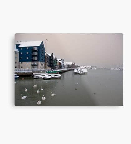 Snowy Harbour Metal Print
