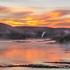 Sunrise and steam on the river by Linda Sparks