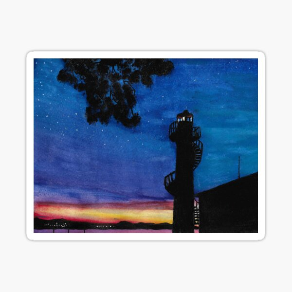 Lighthouse sunset Sticker