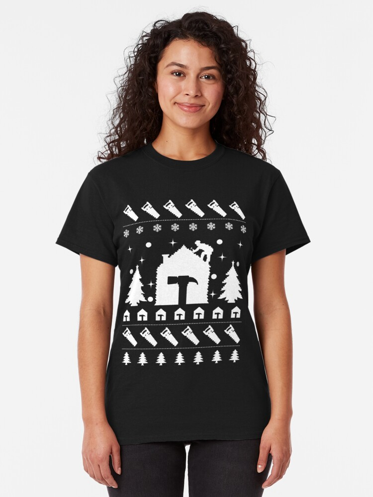 Alternate view of Ugly Christmas Sweater Roofer Men's Novelty Gift. Classic T-Shirt