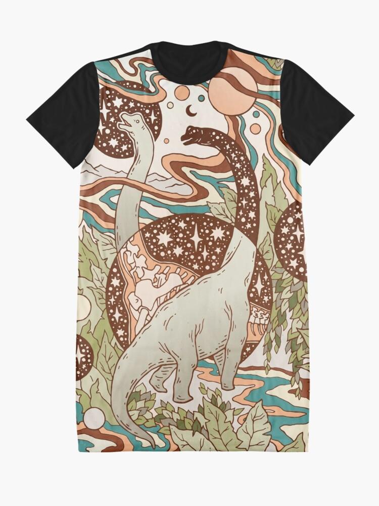 Alternate view of Jurassic Portal | Retro Rainbow Palette | Dinosaur Science Fiction Art Graphic T-Shirt Dress