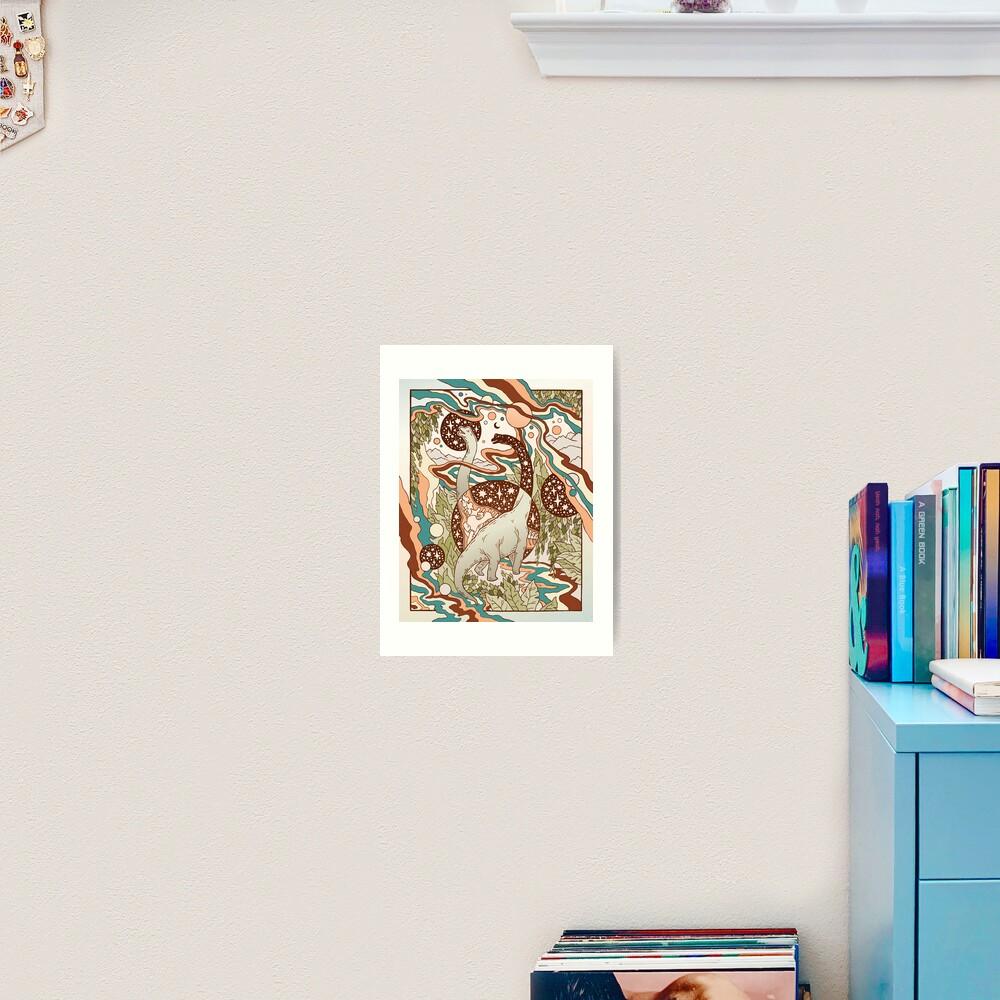 Jurassic Portal | Retro Rainbow Palette | Dinosaur Science Fiction Art Art Print