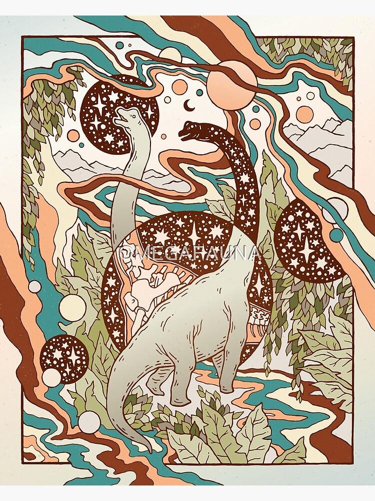 Jurassic Portal | Retro Rainbow Palette | Dinosaur Science Fiction Art by OMEGAFAUNA