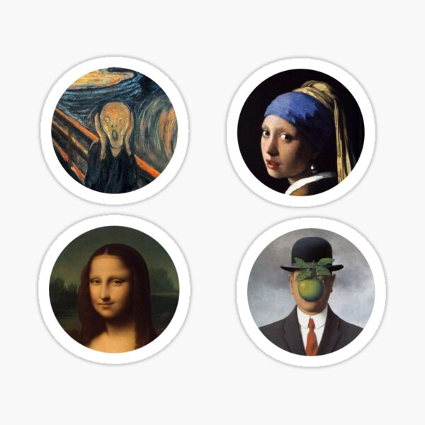 Four heads painting: the Scream, the girl with the pearl, the Joconde, le fils de l'Homme Sticker
