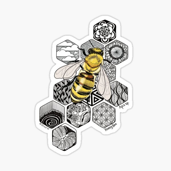 Golden Honey Bee Doodle Sticker