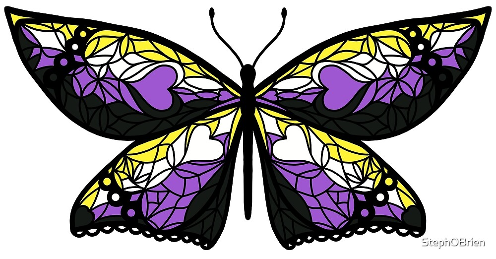 Fly With Pride: Nonbinary Flag Butterfly by StephOBrien