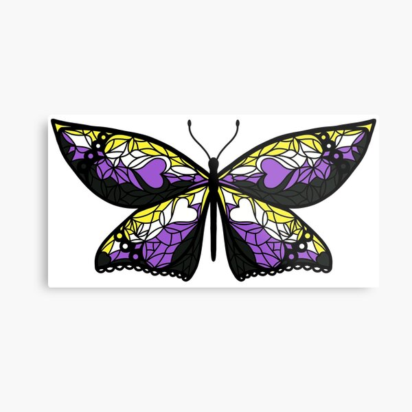 Fly With Pride: Nonbinary Flag Butterfly Metal Print