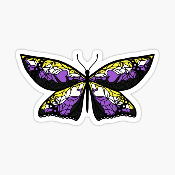 Fly With Pride: Nonbinary Flag Butterfly Sticker