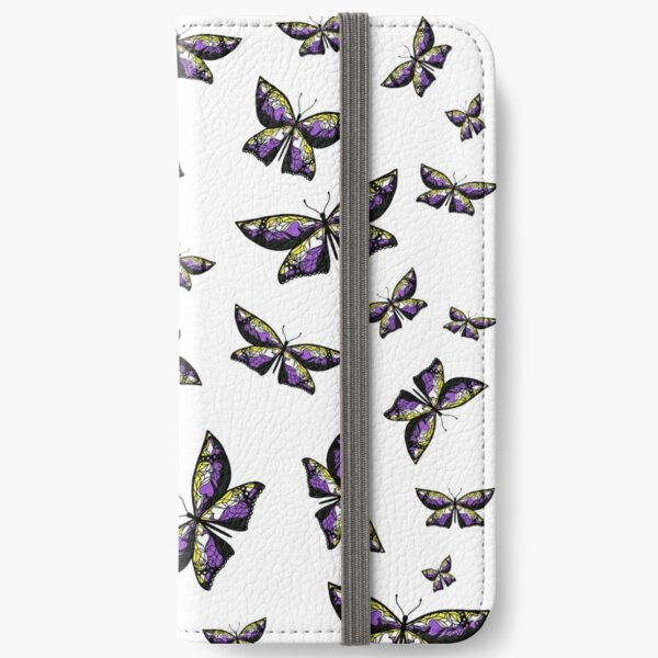 Fly With Pride: Nonbinary Flag Butterfly iPhone Wallet