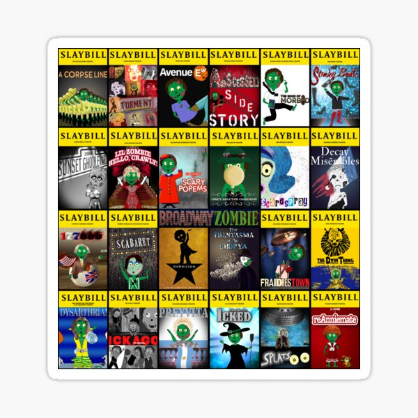 Broadway Zombie Theatre Programs Large Collage Sticker