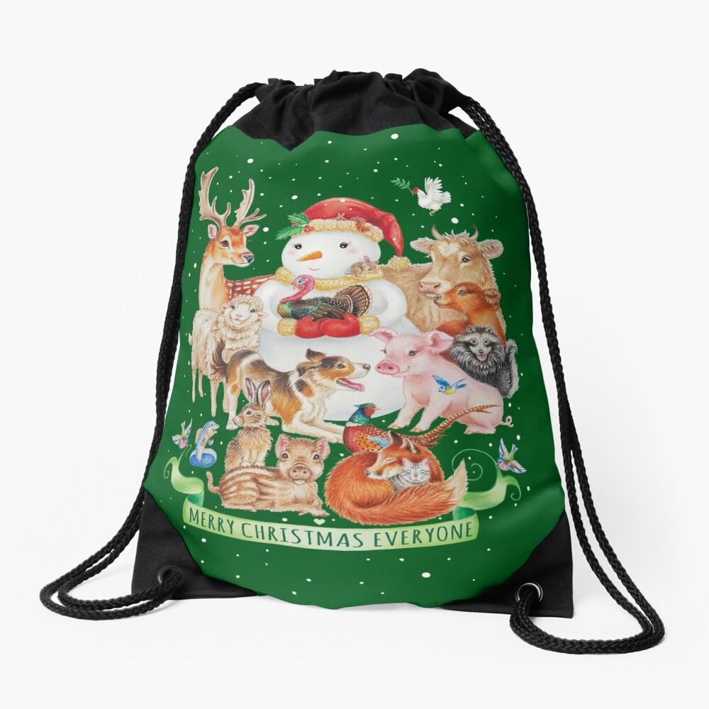 Merry vegan christmas by Maria Tiqwah Drawstring Bag