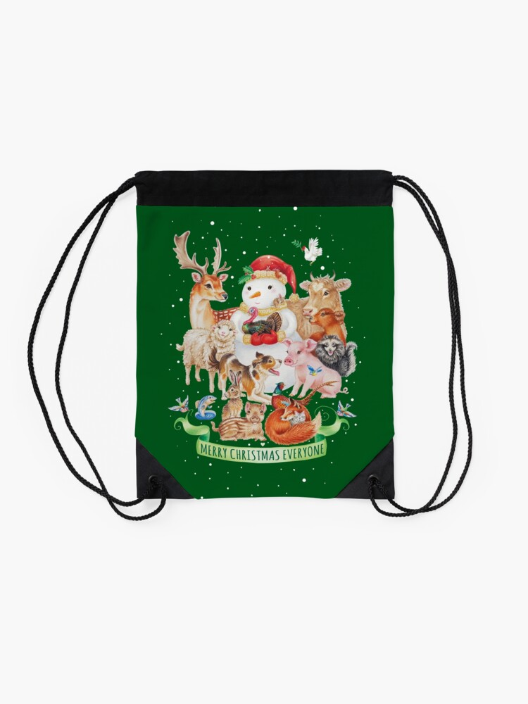 Alternate view of Merry vegan christmas by Maria Tiqwah Drawstring Bag