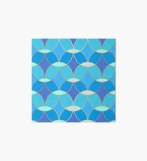 Blue & Gold Oval Tile Pattern  Art Board Print