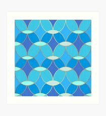 Blue & Gold Oval Tile Pattern  Art Print