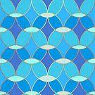 Blue & Gold Oval Tile Pattern  by tanyadraws