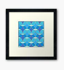 Blue & Gold Oval Tile Pattern  Framed Print