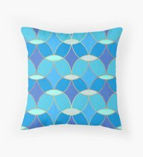 Blue & Gold Oval Tile Pattern  Throw Pillow