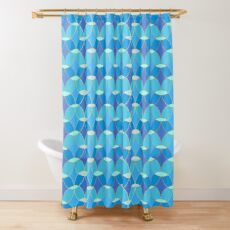 Blue & Gold Oval Tile Pattern  Shower Curtain