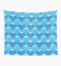 Blue & Gold Oval Tile Pattern  Wall Tapestry