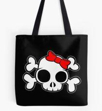 Skull & Crossbones Bow behind Tote Bag