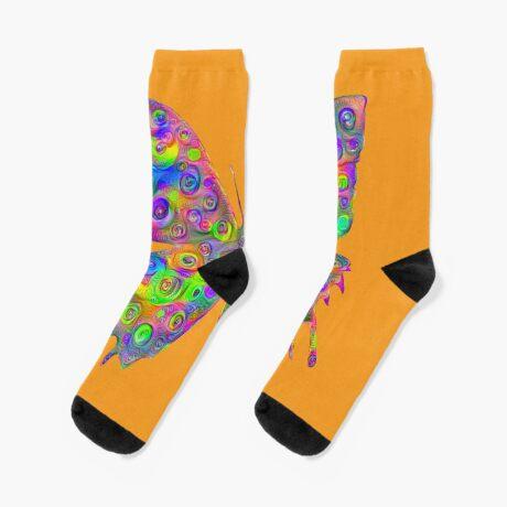 #DeepDream Motley Butterfly Socks
