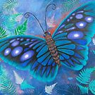 Blue-Green Butterfly with Ferns by Brita Lee