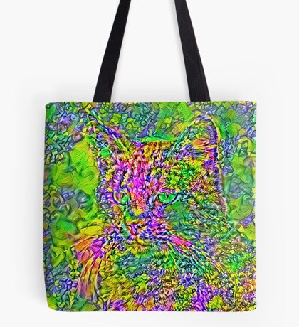 Artificial neural style Flower cat Tote Bag