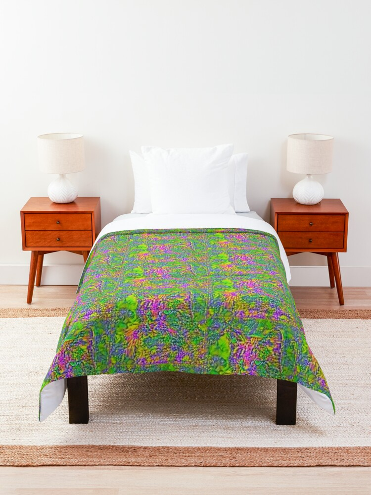 Alternate view of Artificial neural style Flower cat Comforter