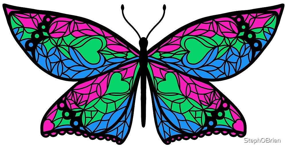 Fly With Pride: Polysexual Flag Butterfly by StephOBrien