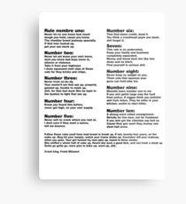 Lienzo metálico 10 mandamientos de grietas