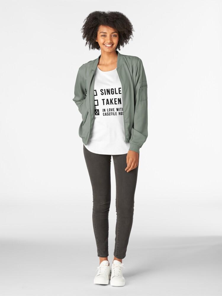 Alternate view of Single | Taken | In Love with Casefile Host (Dark) Premium Scoop T-Shirt