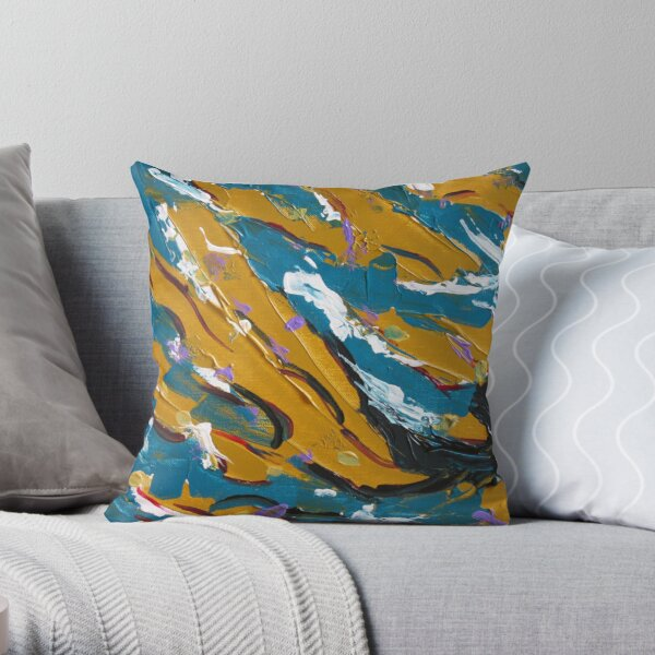 Teal & Mustard Design  Throw Pillow