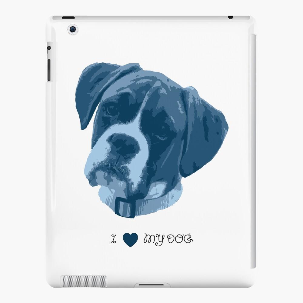 I love my dog - Boxer (Blue) iPad Case & Skin
