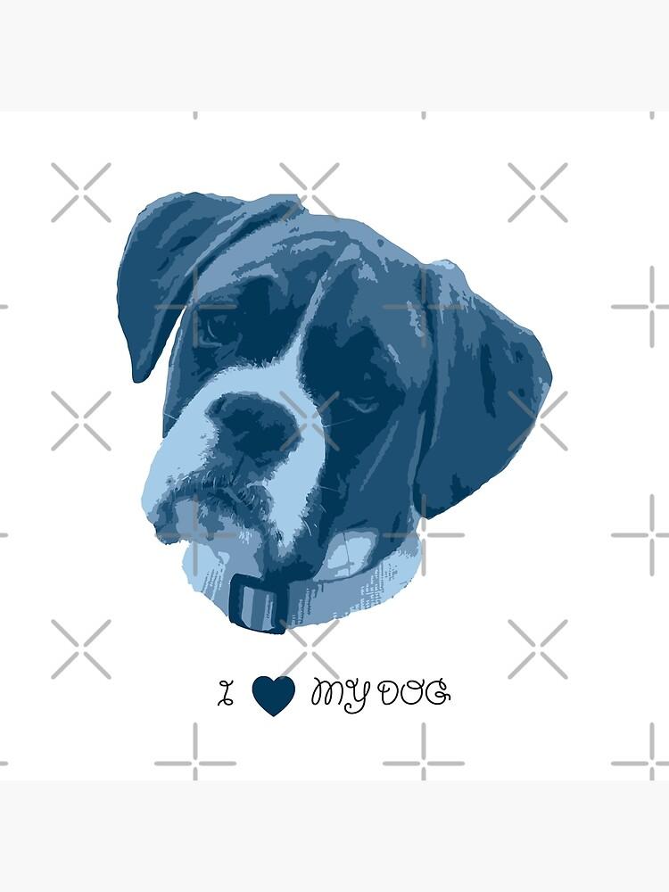 I love my dog - Boxer (Blue) by PrintablesP