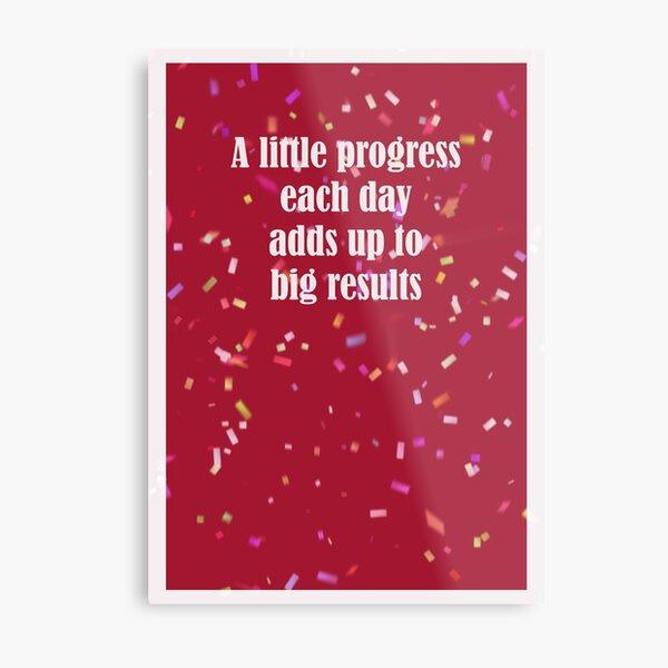 A Little Progress Each Day Red Confetti Design Metal Print
